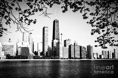 Chicago Skyline Black And White Picture Print by Paul Velgos