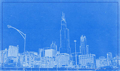 Chicago Skyline Mixed Media - Chicago Skyline Blueprint by Celestial Images