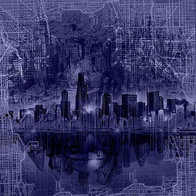Willis Tower Digital Art - Chicago Skyline Blueprint by Bekim Art
