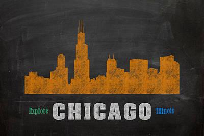 Chicago Skyline Mixed Media - Chicago Skyline Chalkboard Chalk Art by Design Turnpike