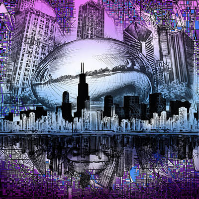 Chicago Skyline Drawing Collage 2 Print by Bekim Art