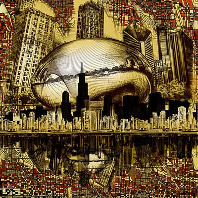 Willis Tower Digital Art - Chicago Skyline Drawing Collage 3 by Bekim Art