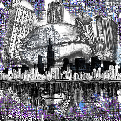 Willis Tower Digital Art - Chicago Skyline Drawing Collage by Bekim Art