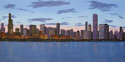 Chicago Skyline -- Evening Approaches Print by J Loren Reedy