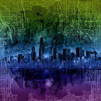 Chicago Skyline Gradient Version Print by Bekim Art