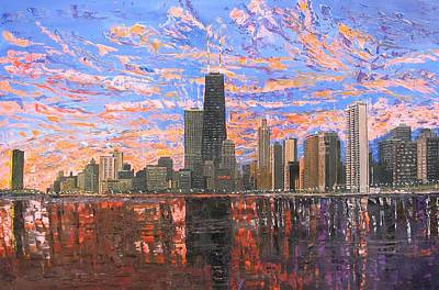 Chicago Skyline Painting - Chicago Skyline - Lake Michigan by Mike Rabe