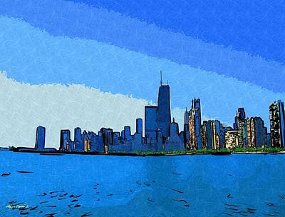 Hancock Building Mixed Media - Chicago Skyline Painted by Skyler Tipton