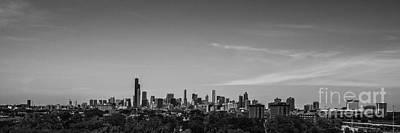 Chicago Skyline Panoramic Black And White Print by David Haskett