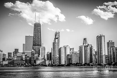 Chicago Skyline Picture In Black And White Print by Paul Velgos