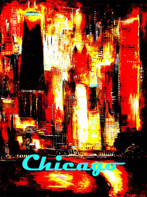 Chicago Skyline Poster - Red Hot Chicago Print by Kathleen Patrick