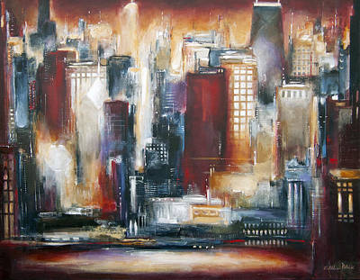 Skyline Painting - Chicago Skyline - The Sunset View by Kathleen Patrick