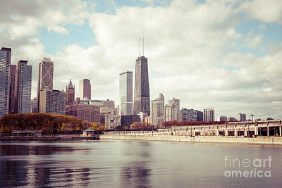 Chicago Skyline Photograph - Chicago Skyline Vintage Picture by Paul Velgos