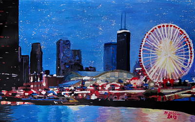 Cityscape Painting - Chicago Skyline With Ferris Wheel by M Bleichner