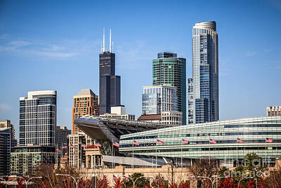 Soldier Field Photograph - Chicago Skyline With Soldier Field And Sears Tower  by Paul Velgos