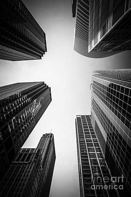 Between Photograph - Chicago Skyscrapers In Black And White by Paul Velgos
