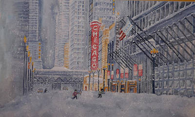 Steele Mixed Media - Chicago Snow by Ragon Steele