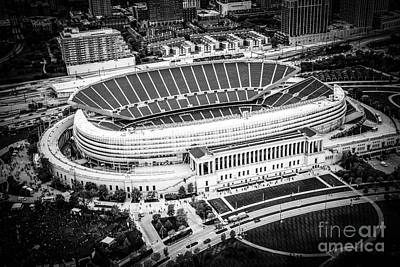 Chicago Soldier Field Aerial Picture In Black And White Print by Paul Velgos
