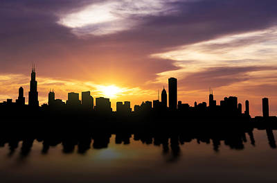 Panoramic Mixed Media - Chicago Sunset Skyline  by Aged Pixel