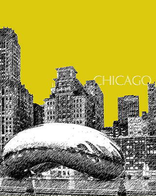 Pen Digital Art - Chicago The Bean - Mustard by DB Artist