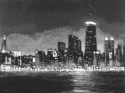 Chicago Cubs Painting - Chicago Tonight - Black And White Skyline by Joseph Catanzaro