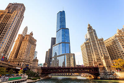 Chicago River Photograph - Chicago Trump Tower At Michigan Avenue Bridge by Paul Velgos