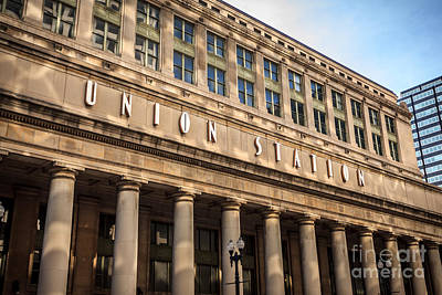 Chicago Union Station Building And Sign Print by Paul Velgos