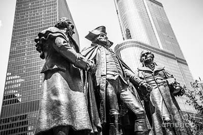 George Washington Photograph - Chicago Washington Morris Salomon Statue Black And White Picture by Paul Velgos