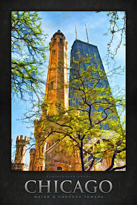 Water Tower Painting - Chicago Water And Hancock Towers Poster by Christopher Arndt