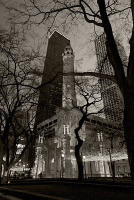 Illuminated Photograph - Chicago Water Tower B W by Steve Gadomski