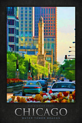 Water Tower Painting - Chicago Water Tower Beacon Poster by Christopher Arndt