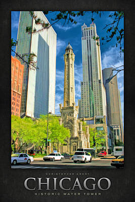 Water Tower Painting - Chicago Water Tower Shopping Poster by Christopher Arndt