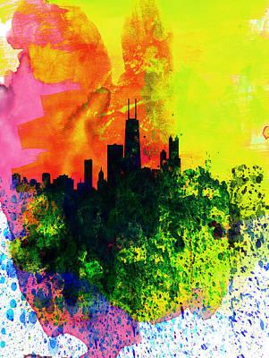 Panoramic Digital Art - Chicago Watercolor Skyline by Naxart Studio