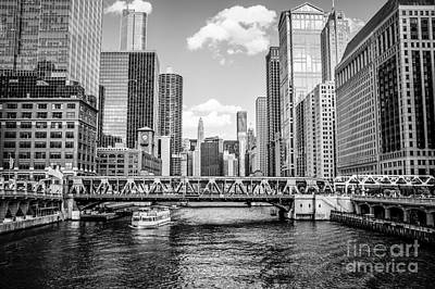 Riverfront Photograph - Chicago Wells Street Bridge Black And White Picture by Paul Velgos