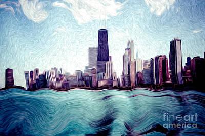 Chicago Windy City Digital Art Painting Print by Paul Velgos