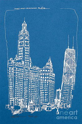 Hancock Building Drawing - Chicago Wrigley And Hancock Bldgs Silkscreen Print by Robert Birkenes