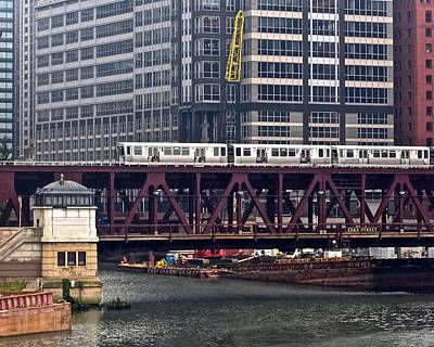 Riverwalk Photograph - Chicagos Elevated Train by Frozen in Time Fine Art Photography