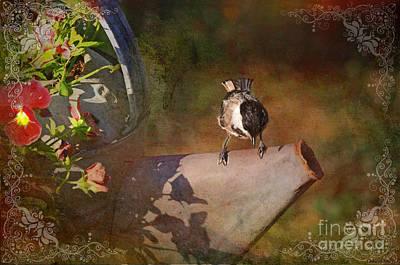 Chickadee Flower Pot Print by Debbie Portwood