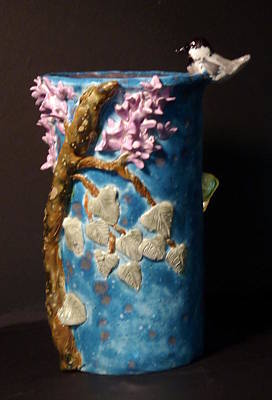 Customcrittersbydeb Sculpture - Chickadee Lilac Butterfly Vase Hand Built In The Usa by Debbie Limoli