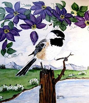 Chickadee With Blue Clematis Print by Sandra Maddox