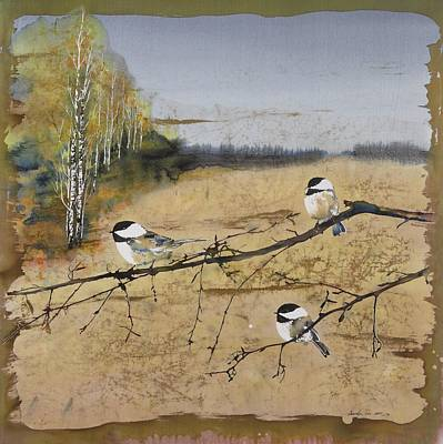 Chickadees And A Row Of Birch Trees Print by Carolyn Doe