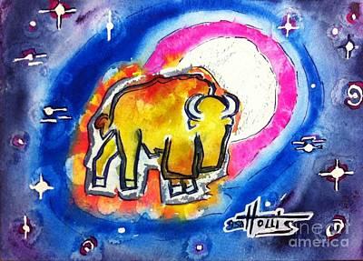 Painting - Chickasaw Moon Buffalo by Gayla Hollis