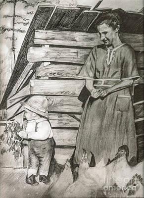 Chicken Coop - Woman And Son - Feeding Chickens Original by Jan Dappen