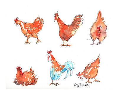 Chicken Pen Print by Kathleen McElwaine