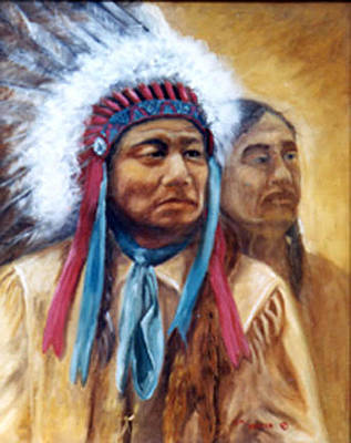 First Tribes Painting - Chief Painted Horse Sioux  by Esther Marie Versch