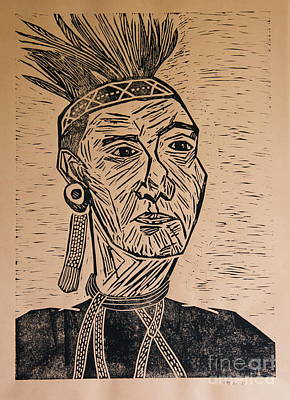 Lino-cut Mixed Media - Chieftain - Block Print by Christiane Schulze Art And Photography