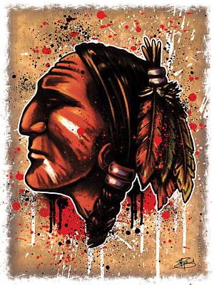 Hockey Mixed Media - Chihawk by Michael Figueroa