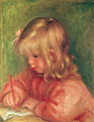 Desk Painting - Child Drawing by Pierre Auguste Renoir