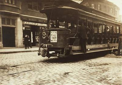 Child Riding On A Tram, Boston, 1909 Print by Science Photo Library