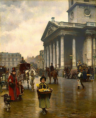 Wet On Wet Painting - Child Selling Flowers In Trafalgar Square by Mountain Dreams