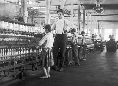 Child Spinner At Yarn Mills Print by Lewis Hine